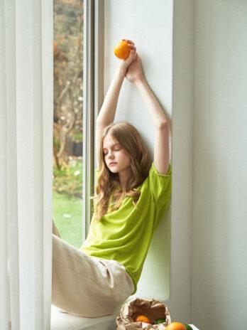 Linen fruit Pullover_APPLE GREEN